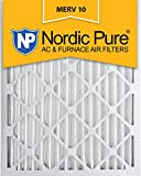 nordic pure 16x25x2 merv 10 pleated ac furnace air filter box of 3