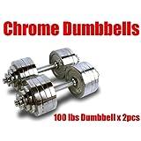 New Pair 200 lbs Adjustable Chrome Dumbbells Weight Set 100 lbs Dumbbell x 2pcs