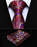 "Dan Smatree Red Green Floral 2.75"" Silk Woven Men Tie Necktie Handkerchief Set"