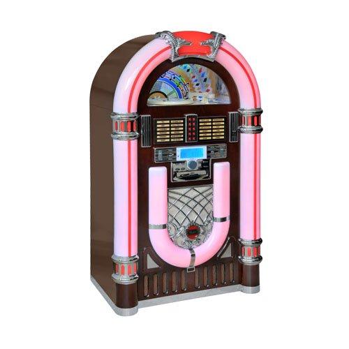 Majestic/Audiola JB 3710TT - Jukebox style old school rockabilly 50's avec ports USB et SD et lecteur CD (entree AUX, radio, eclairage LED 7 couleurs)