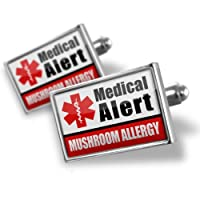 "Neonblond Cufflinks Medical Alert Red ""Mushroom Allergy"" - cuff links for man from NEONBLOND Jewelry & Accessories"