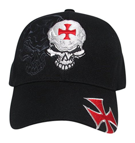 Skull with Red Iron Cross Chopper Baseball Hat, Black, Adj. Fit (Cross Chopper compare prices)