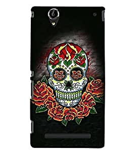 Printvisa Colourfull Floral Skeleton Back Case Cover for Sony Xperia T2 Ultra::Sony Xperia T2 Ultra Dual