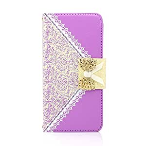 """Gearonic GEARONIC TM Lace Filp PU Leather Credit Card Holder Wallet Handbag Case with Chain for Apple iPhone 6 Plus 5.5"""" - Purple - Carrying Case - Non-Retail Packaging - Purple"""