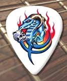 10 x Tattoo Guitar Picks Flaming Blue Dragon (D68) (Thin 0.46mm)