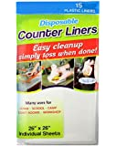 """Disposable Plastic Counter Liner Individual Sheet 26"""" X 26"""" (Pack of 15)"""