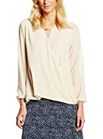 William de Faye Blusa Seda Top Faux Cache Cœur Dentelle S/M (Beige)