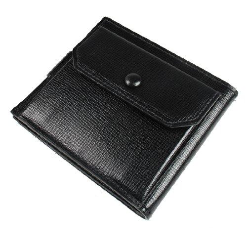 L'arcobaleno ラルコバレーノ Mini Wallet ミニ財布/ミニ二つ折り財布/ヒップウォレット 牛革/レザー 391-BK ブラック×グレー