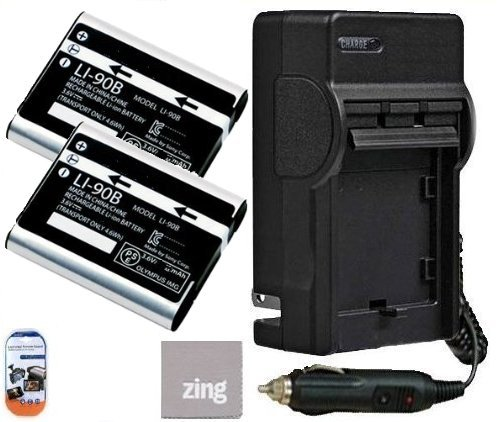 Olympus Tough TG-1 iHS Digital Camera Battery Battery and Battery Charger Kit Includes - Qty 2 LI-90B Replacement Batteries, AC/DC Battery Charger, LCD Screen Protectors and Micro Fiber Cleaning Cloth