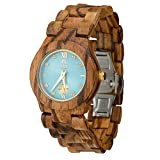 Wooden Watch For Women Maui Kool Hana Collection Zebra Wood Watch With Turquoise Face