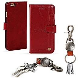 iPhone 6s case, OnePi Genuine Leather Wallet Flip Folio with Buitlu-in Media Stand - Magnetic Closure Wallet Case Cover for iPhone 6s/6 4.7 Inch - Free Key Ring Gift (Red)