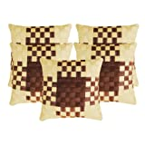 Zikrak Exim Basket Woven Cushion Cover Brown & Beige 5 Pcs Set 40 X 40 Cm