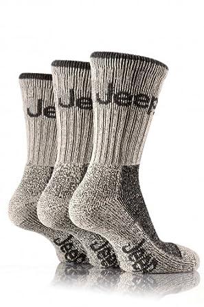 Mens 3 Pair Jeep Luxury Terrain Socks In 3 Colours - 6-11 Mens - Grey