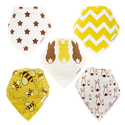 TRUBAMBI Bibs. Best Quality Baby Bandana Bibs. Excellent Baby Gift set for Boys and Girls. Unisex. Perfect Bib for Drooling Teething babies and toddlers. 5 PCS Pack Stylish assorted designs (Neutral)