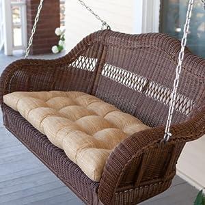 Casco Bay Resin Wicker Porch Swing - Walnut from Hayneedle