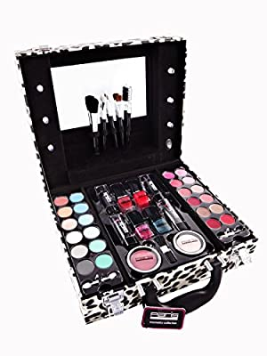 Paris Memories Leopard Vanity Case Beauty Contouring Kit Cosmetic Set Gift Travel Make Up Box Train Storage 42 Piece Mirror & Light