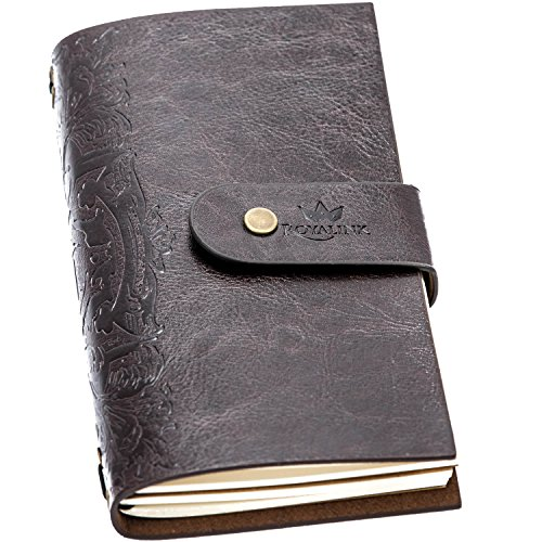 Refillable Vintage Journal - Classic Handcrafted Notebook made with Soft PU Leather, Fountain Pen Friendly by Royal Ink