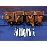 2 Original Russian Military Surplus Mosin Nagant M38 M44 91/30 1891 91 30 7.62x54 Leather Strap Cartridge Ammo Pouches + Pack Of 10 Steel Stripper Clips W/Free Rem Oil Wipe!