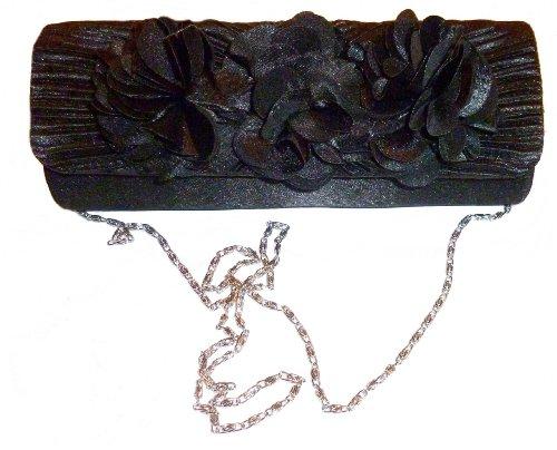 Beautiful 3 Flower Satin Sheered Evening Handbag /Clutch/Purse - Black