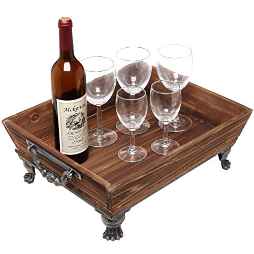 Vintage Rustic Style Decorative Brown Wooden Centerpiece Storage Organizer / Display Tray w/ Metal Accent