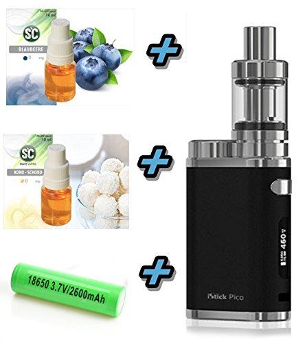 Elektronische Zigarette Pico iStick bis 75W | Einsteiger Starterset 2600mAh | Top Refill | TC (Temperaturregelung) mit Integriertem Akku | mit SC Liquids – 00mg Rauchen ohne Nikotin