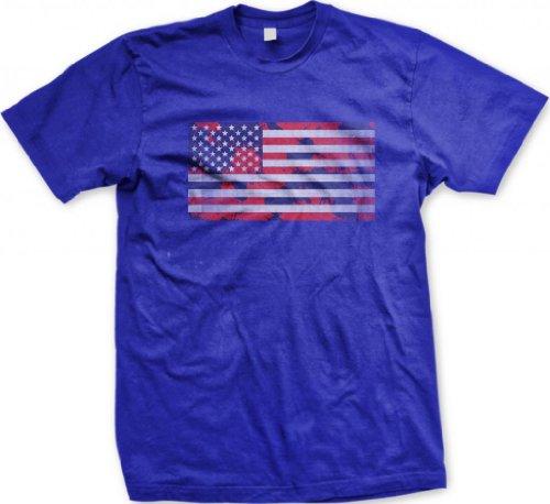 Red, White And Blue Splatter American Flag Men'S T-Shirt (Royal, Small)