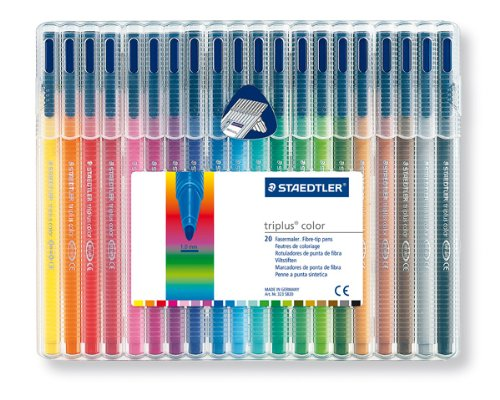 Staedtler Triplus Colour 323 SB20 Fibre Tip Pens In Desktop Box - 20 Assorted Colours