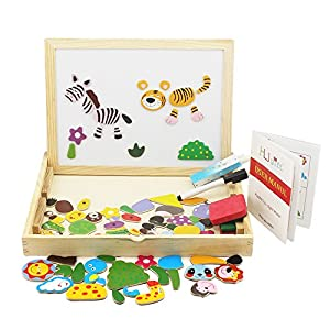 HLJgift Wooden Jigsaw Puzzle Baby Toys Animal Easel Doodle Drawing Board For Children be used in Education Expand Imagination