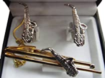 Silver and Gold Tone Saxophone Sax Tie Bar /Clip & Cuff Link Set
