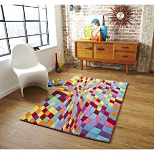 Think Rugs Prism PR-101 Wool Blend Indian Hand Tufted Rug, Multi, 120 x 170 Cm by Think Rugs
