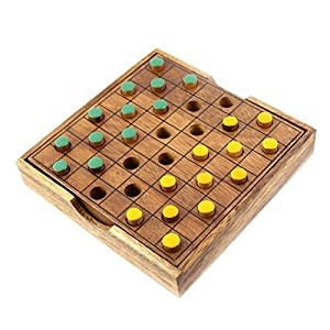 Amazon.com: Wooden Checkers Colored L Brain Teaser Puzzles ...
