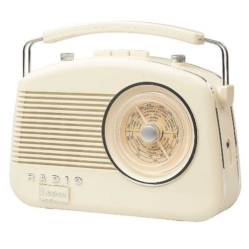 Steepletone Brighton 1950's Portable Retro Style Rotary Radio - Beige