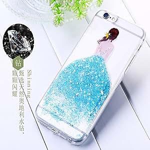 Muskdeer Original Joyroom Olly Series Soft TPU Full Rubber Case Girl Flower Shiny Diamond Back Cover For IPhone 6/6S (BLUE)