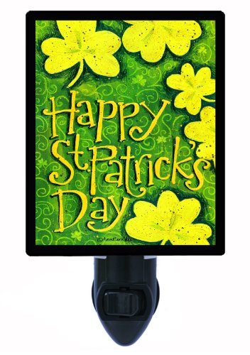St. Patricks Day Night Light - Happy St. Patricks Day Clovers Led Night Light