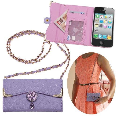 Xtra-Funky Exclusive Luxury Faux Leather Quilted Handbag Purse Style Case With Carry Strap And Beautifully Decorated Crystal Flower For Iphone 4 / 4S - Purple (Includes A Mini Stylus And Lcd Screen Protector Film)