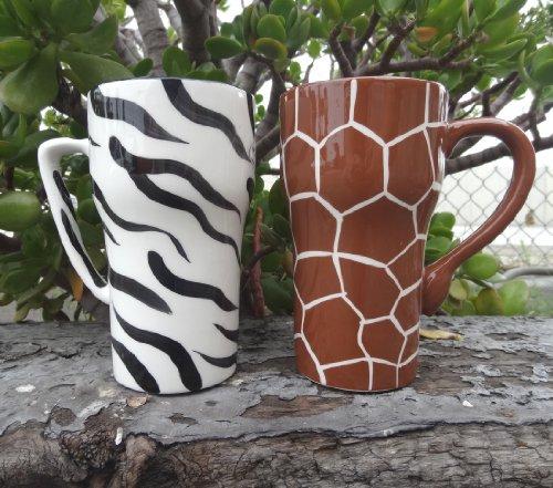 Hand Painted GIRAFFE AND ZEBRA Ceramic Travel Mugs, 2-Piece Set, 6-1/4
