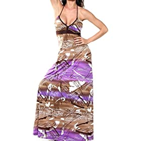 LONG MAXI HALTER DRESS BOHO SUN VINTAGE CELEBRITY TUBE SEXY PRINTED GOWN