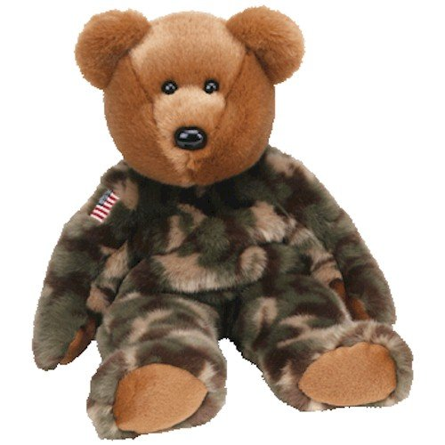 TY Beanie Buddy - HERO the Bear (w/ USA Flag)