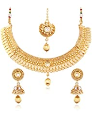I Jewels 24K Gold Plated Traditional Jewellery Set With Maang Tikka For Women MS116