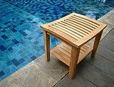 New Grade A Teak Wood Shower / Bath Room / Pool / Spa Stool Bench with Shelf #WFAXTSWS