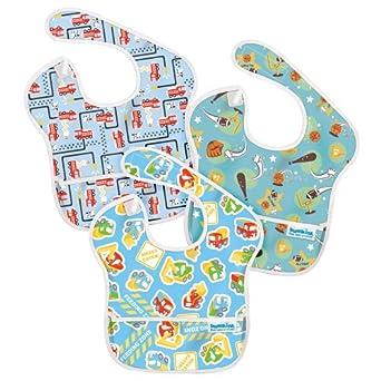 (极低)Bumkins 3 Pack Waterproof SuperBib宝宝防水围兜三个装$9.72