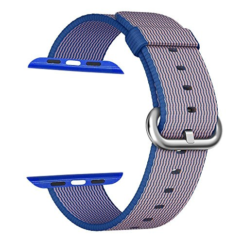 Apple Watch cinturino ,PUGO TOP Woven Nylon Replacement Wrist cinturino Bracelet Strap for Apple Watch Serise 1/Apple Watch Serise 2 (38mm , Blu reale)
