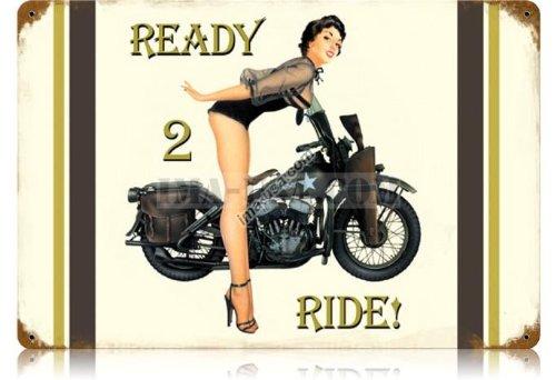 U.S. WW2 Vintage Metal Sign: 1943 Harley-Davidson Pinup 1