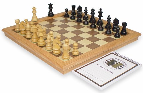 Royal Guard Staunton Chess Set Package in Ebonized Boxwood & Boxwood with Oak Framed Folding Chess Case - 3.25