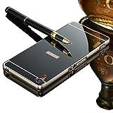Sony Xperia Z1 用 スマホカバー、Vandot 高級 薄型 スプリット タイプ 分離式 ハード アルミ 金属 フレーム PC 鏡面 保護 バック ケース 防塵 耐衝撃 おしゃれ ファッション-ブラック