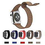 Apple Watch Band,Teslasz 42mm Genuine Leather Loop with Magnet Lock Strap Replacement Band Link Braclet for Apple iWatch All Models (Brown 42 MM)