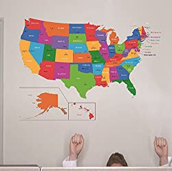 Design with Vinyl RAD 1262 3 United States Of America World Map Classroom School Kids Teacher Students Colorful Learning Teaching Vinyl Wall Decal 20 x 30