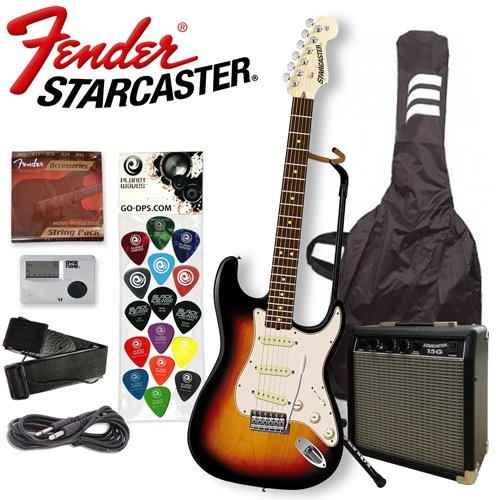 Starcaster by FENDER Electric Guitar - Sunburst - Includes: Guitar Cable, Strap, Ultra Stand, Qwiktune Tuner, Strings, Planet Waves/GO-DPS 16 Pick Sampler (#PW-SAMPLER) & 15-Watt Starcaster Guitar AMP - AUTHORIZED ELECTRONICS DISTRIBUTOR