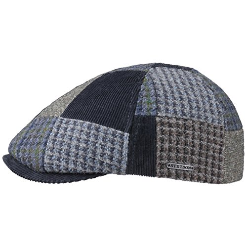 Texas Patchwork Wool Coppola Stetson berretto piatto cappello piatto 59 cm - blu