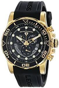 "Swiss Legend Men's 21368-YG-01 ""Avalanche"" Stainless Steel Watch with Black Silicone Band"